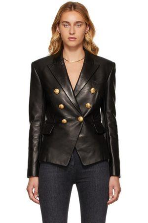 Balmain Women Blazers - BLack Lambskin Double-Breasted Jacket