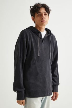 BDG Waffle Knit Hooded Rugby Shirt