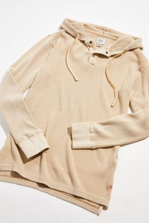 BDG Men Shirts - Waffle Knit Hooded Rugby Shirt