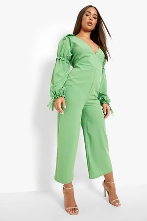 Boohoo Women Culottes - Womens Frill Detail Plunge Culotte Jumpsuit - - 4