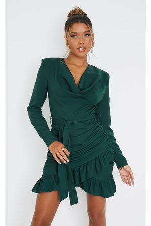 PRETTYLITTLETHING Women Bodycon Dresses - Emerald Cowl Neck Long Sleeve Wrap Ruched Bodycon Dress