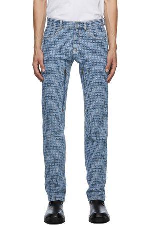 Givenchy Men Jeans - Blue Regular Fit 4G Jacquard Jeans
