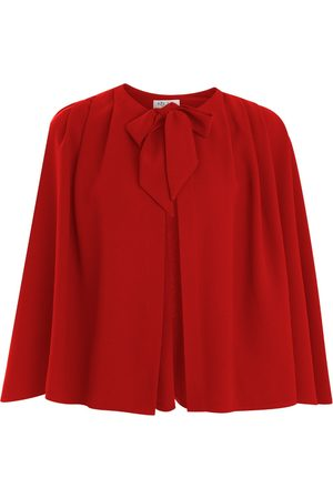 Women Ponchos & Capes - Women's Artisanal Green Crepe Red Cape kith & kin