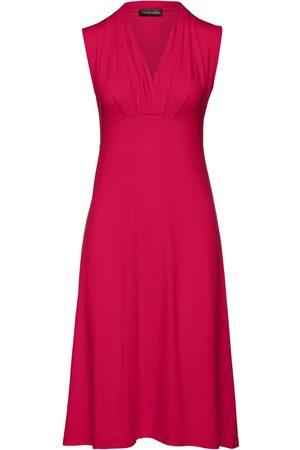 Women Sleeveless Dresses - Women's Artisanal Red Fabric Solid Colour Empire Line Sleeveless Dress Large Conquista
