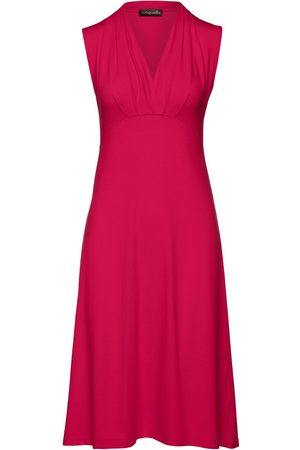 Women Sleeveless Dresses - Women's Artisanal Red Fabric Solid Colour Empire Line Sleeveless Dress XXL Conquista