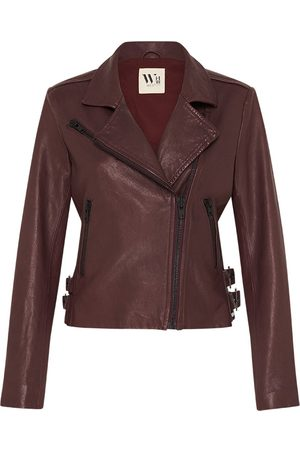 Women Leather Jackets - Women's Low-Impact Red Leather New Yorker Motor Jacket - Shiraz Medium West 14th