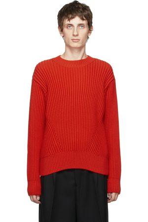 Ami Red Virgin Wool Rib Boxy Sweater
