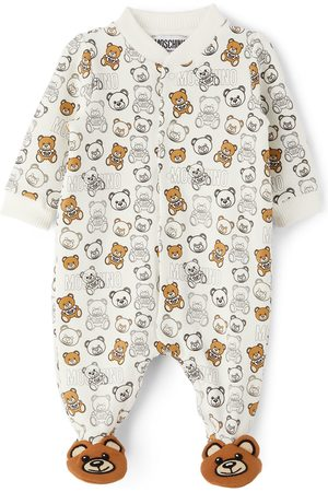 Moschino Baby White Allover Teddy Bear Footie Jumpsuit