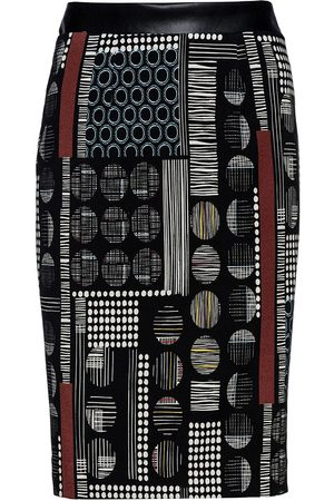 Women Printed Skirts - Women's Artisanal Black Leather Patterned Pencil Skirt With Faux Detail By Fashion Small Conquista