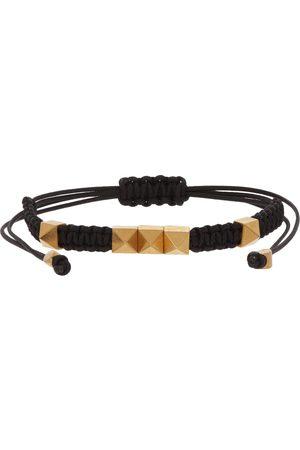 VALENTINO GARAVANI Men Bracelets - Black & Gold Cord Rockstud Bracelet