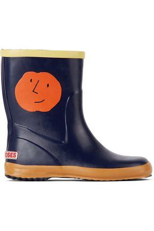 Bobo Choses Rain Boots - Kids Navy Faces Rain Boots