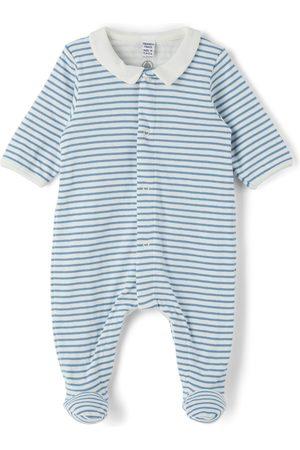 Petit Bateau Rompers - Baby Organic Cotton Stripy Collar Bodysuit
