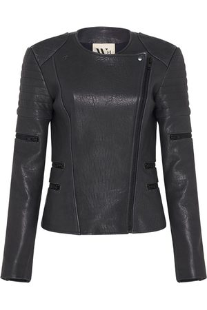Women Leather Jackets - Women's Low-Impact Green Leather wich Street Motor Jacket Large West 14th