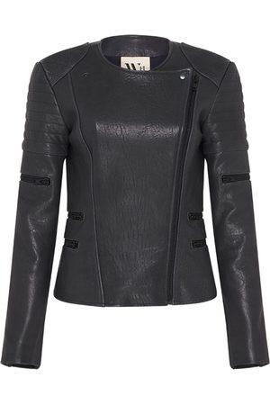 Women Leather Jackets - Women's Low-Impact Green Leather wich Street Motor Jacket Medium West 14th