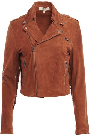 Women's Artisanal Brown Leather Tina Washed Suede Small Jakett New York