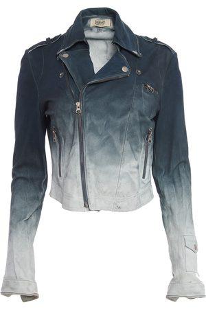 Women Leather Jackets - Women's Artisanal Blue Leather Josey Ombre Waxed Suede Large Jakett New York