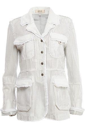 Women Leather Jackets - Women's Artisanal White Leather Meryl Perforated Washed Large Jakett New York