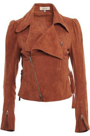 Women Leather Jackets - Women's Artisanal Brown Leather Debra Washed Suede Medium Jakett New York