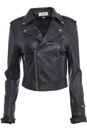 Women Leather Jackets - Women's Artisanal Black Leather Josey Washed Medium Jakett New York