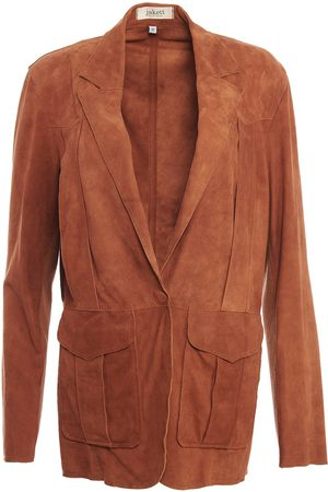 Women's Artisanal Brown Leather Veronica Washed Suede Medium Jakett New York