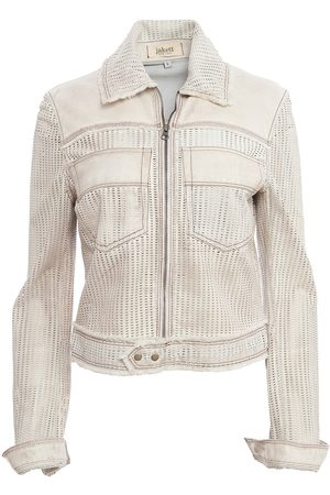 Women Leather Jackets - Women's Artisanal White Leather Hayden Perforated Vintage Small Jakett New York