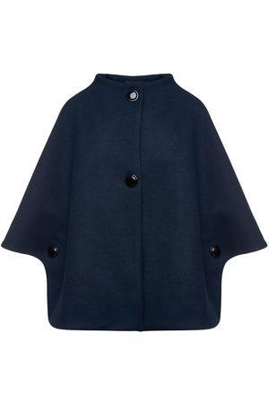 Women's Artisanal Navy Blue Fabric Mouflon Cape With Buttons Large Conquista