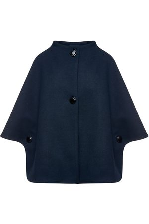 Women's Artisanal Navy Blue Fabric Mouflon Cape With Buttons Medium Conquista