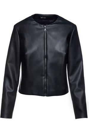 Women Leather Jackets - Women's Artisanal Black Leather Faux Winter Jacket Small Conquista