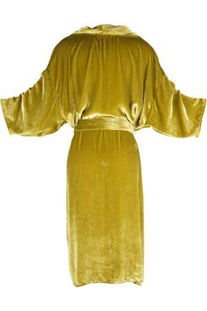 Women Kimonos - Women's Artisanal Velvet Chartreuse Koi Kimono Small Jennafer Grace