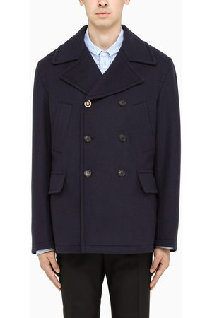 VERSACE Navy wool blend double-breasted coat