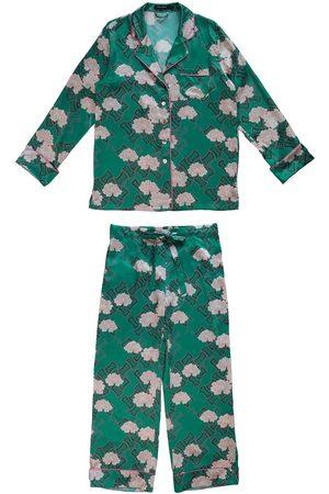 Women's Green Silk Kiku Pyjama Set Small Emma Wallace