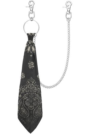 Men Scarves - Men's Black Silk Bandana Chain - & White Vintage Paisley Scarf Other