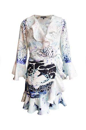 Women's Artisanal Silk Mini Wrap Dress - Poison Dart Frog Print XS CASSANDRA HONE