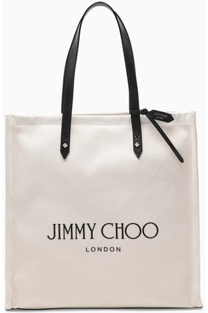 Jimmy Choo White canvas logo-print tote bag