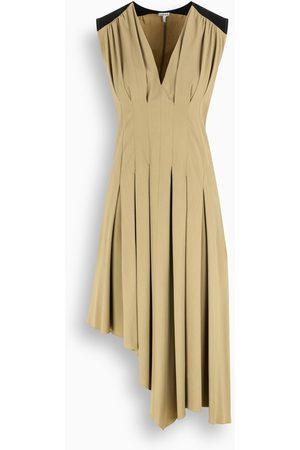 Loewe Taupe/black pleated asymmetric dress