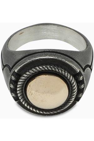 NOVE25 Bronze geometric frieze chevalier ring