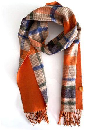 Men Scarves - Men's Organic Green Wool 100% Cashmere Plaid Scarf - Orange, Navy & Check Large Tonn