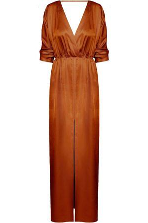 Women Casual Dresses - Women's Artisanal Brown Cotton Cecilia Oversized Kimono Sleeve Maxi Dress XS/S unlined