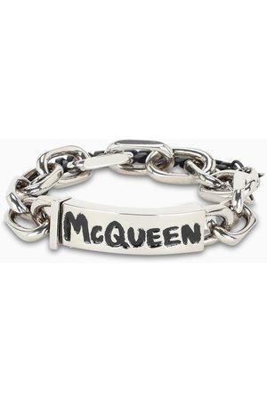 Alexander McQueen Black and silver chain bracelet
