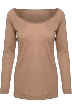 Women Long sleeves - Women's Artisanal Brown Cashmere Blend Long Sleeve Top Small Conquista