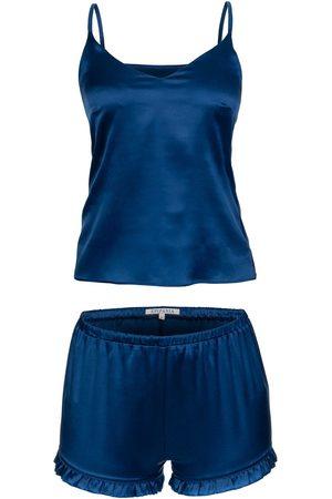 Women Sweats - Women's Artisanal Royal Blue Silk Set Small Epifania Nightwear