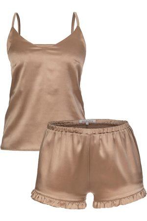Women's Artisanal Natural Silk Nude Gold Set Small Epifania Nightwear