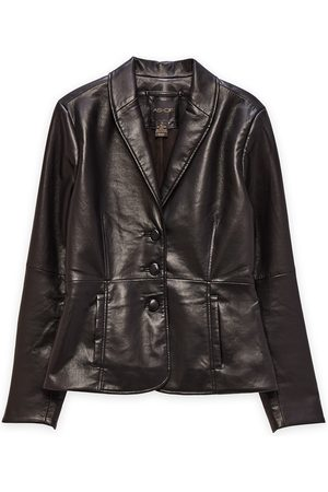 Women Leather Jackets - Women's Black Leather The Denise Recycled Blazer In XS AS by DF