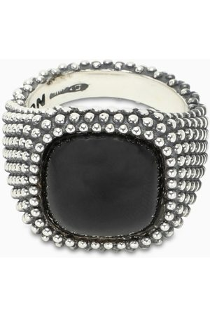 NOVE25 Onyx stone square chevalier ring