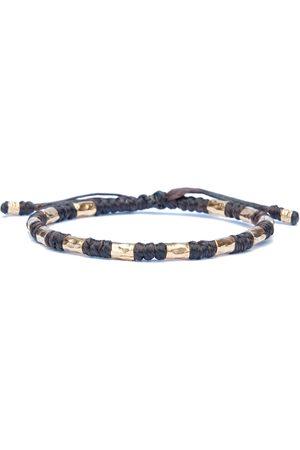 Men Bracelets - Artisanal Gold Hammered & Knotted Brown Rope Bracelet For Men - Vik Harbour UK Bracelets