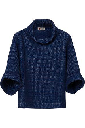 Women Ponchos & Capes - Women's Artisanal Blue Silk Cape Cashmere Merino Tasselli Cashmere