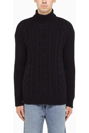 Roberto Collina Navy braid-trim turtleneck sweater