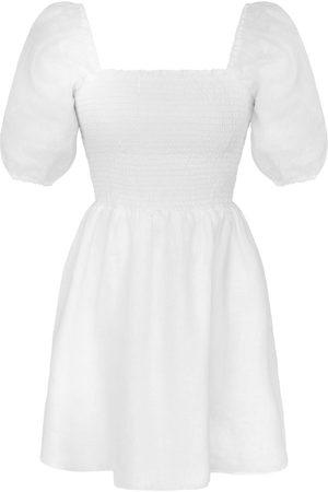 Women Party Dresses - Women's Artisanal White Cotton Gloria Mini Dress Floral Large K By Kaia