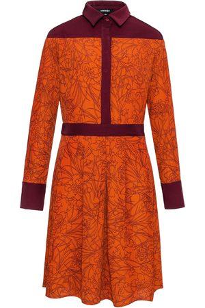 Women's Brown Linear Flower Print Shirt-Dress XL Smart and Joy