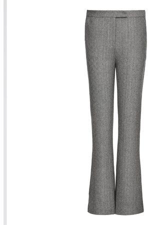 Women Straight Leg Pants - Women's Grey Wool Marled Straight-Leg Pants Large Smart and Joy